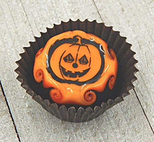 (Glass Halloween Jack-O-Lantern Chocolate Pumpkin Candy Handmade Gift Home Table Décor)