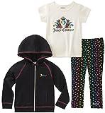 Juicy Couture Girls' Little 3 Pieces Jacket Set, Black/Print, 4