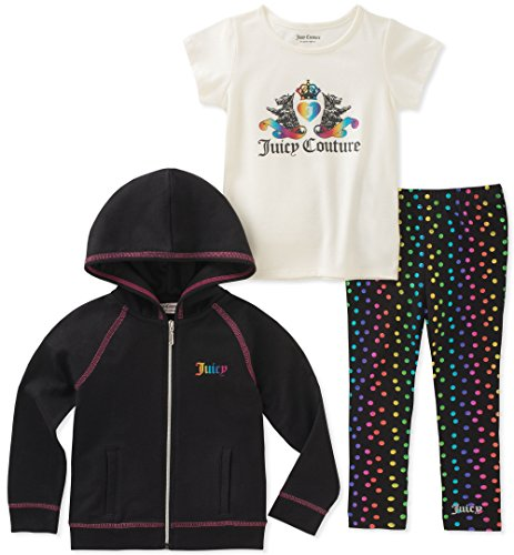 Juicy Couture Girls' Little 3 Pieces Jacket Set, Black/Print, 4 by Juicy Couture