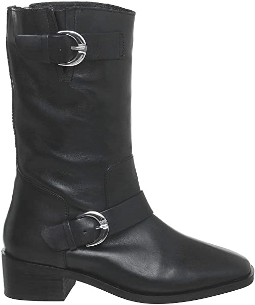 Womens Office Kick Calf Biker Boots Black Leather Boots