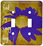 3dRose lsp_41170_2 Purple Flower Find Joy Every Day Inspirational Quotes Art Double Toggle Switch