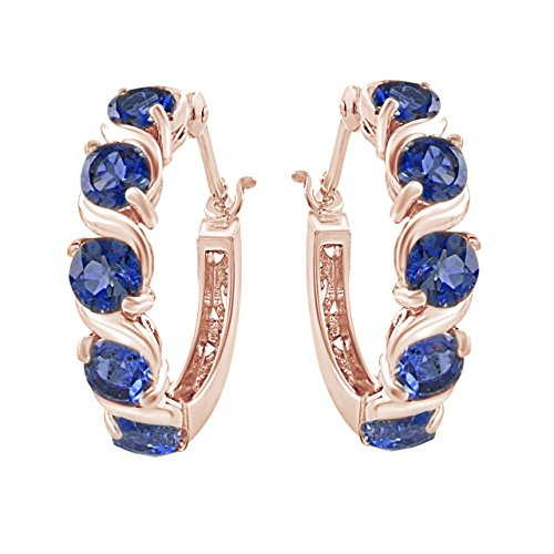(Simulated Blue Sapphire Hoop Earrings in 14k Rose Gold Over Sterling Silver)