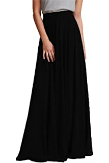 37de2a9a36b Omelas Women Long Floor Length Chiffon High Waist Skirt Maxi Bridesmaid  Pary Dress