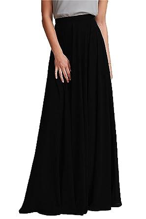 56f326afb6 Omelas Women Long Floor Length Chiffon High Waist Skirt Maxi Bridesmaid  Party Dress (Black,