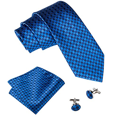 Hi-Tie Fashion Necktie Set with Pocket Square Cufflinks