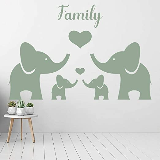 wangpdp Elefante Familia Vinilo Etiqueta de la Pared Guardería ...
