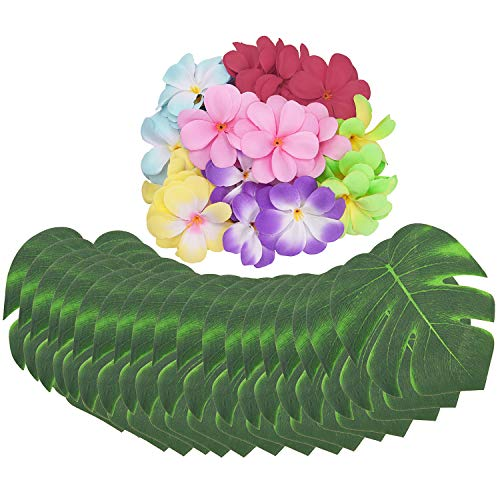 Livder 84 Pieces Hawaiian Artificial Palm Leaves and Flowers, Summer Tropical Island Party Decorations Supply for Jungle Beach BBQ Theme Party