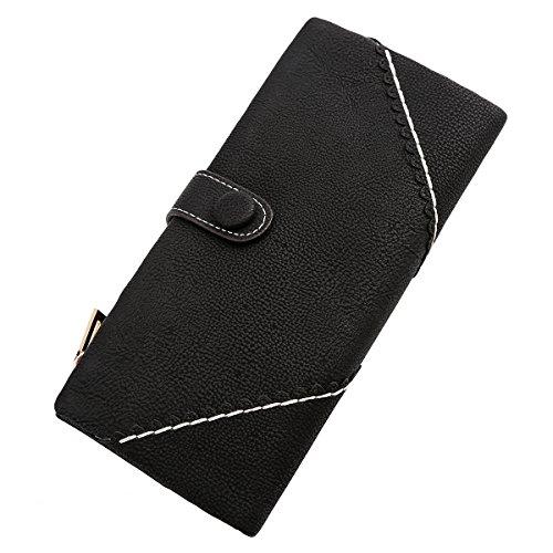 7d497e5852 Jastore Women s Long Leather Wallet Button Clutch Purse Card Holder Case