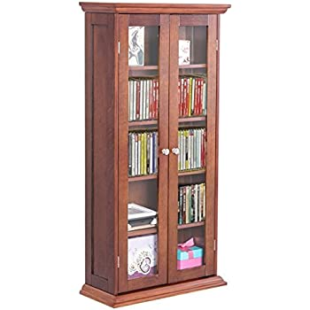 Amazon Com Winsome Wood Cd Dvd Cabinet With Glass Doors