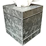Autumn Alley Rustic Farmhouse Galvanized Metal Square Tissue Box Cover | Quality Construction | Adds The Perfect Warm Farmhouse Accent to Your Home