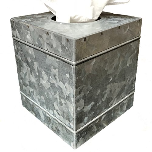 Farm Box Tissue - Autumn Alley Rustic Farmhouse Galvanized Metal Square Tissue Box Cover | Quality Construction | Adds The Perfect Warm Farmhouse Accent to Your Home