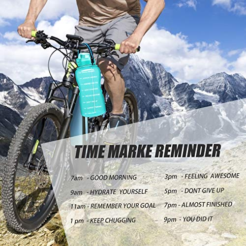Giotto Large 1 Gallon Motivational Water Bottle with Paracord Handle & Removable Straw - Leakproof Tritan BPA Free Fitness Sports Water Jug with Time Marker to Ensure You Drink Enough Water Daily