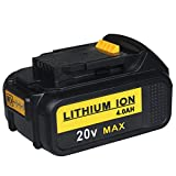 Topbatt 20V 4.0Ah Lithium-Ion Rechargeable Battery with Fuel Gauge for Dewalt DCB204-2, DCB205-2, DCB200-2, DCB204, DCB205, DCB200, DCB201, DCB203