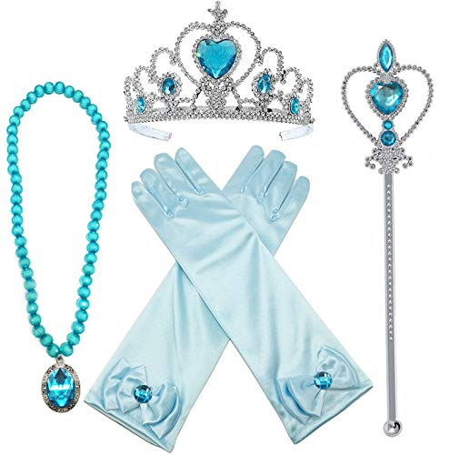 Princess Crown Costume (Alead Princess Elsa Dress Up Party Accessories et Gloves, Tiara, Wand and Necklace, Lake Blue, 4)