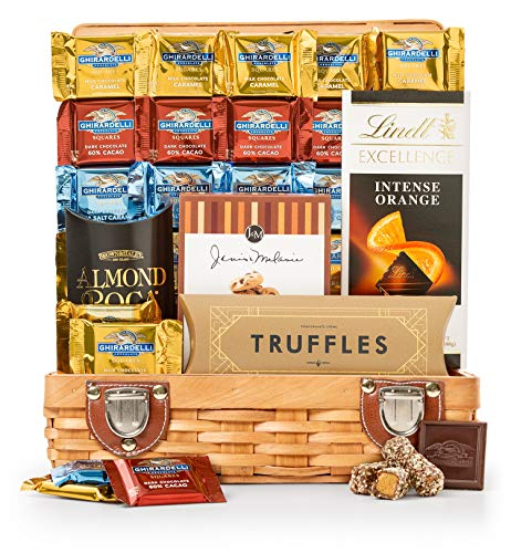 GiftTree Chocolate Decadence Gourmet Chocolate Gift Basket | Includes Ghirardelli Squares, Almond Roca, Chocolate Chip Cookies, Lindt & More