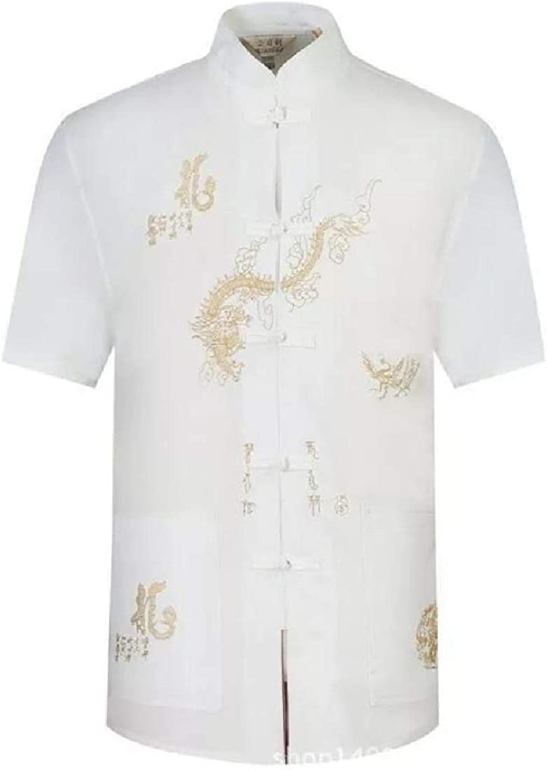 JSY Men Frog-Button Smocked Tang-Suit Chinese Style Printed Dragon Short Sleeve Button Down Shirts