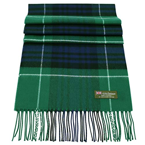 - Rosemarie Collections 100% Cashmere Winter Scarf Made In Scotland (Green Black Navy White Classic Plaid)