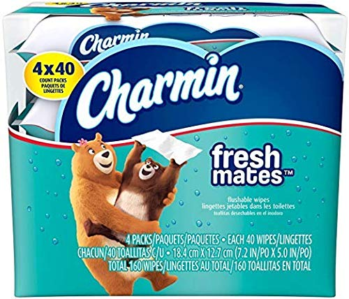 Charmin Freshmates Flushable Wipes Triple Pack Refills, 160 Count by Charmin