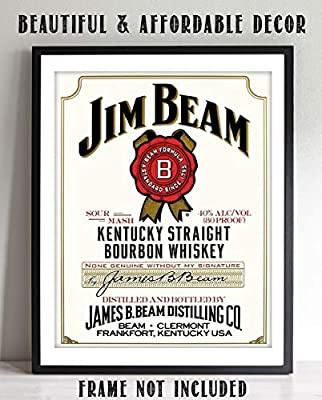 """Jim Bean Bourbon Label- Wall Art Sign- 8 x 10""""- Genuine Replica Print-Ready to Frame. Home Décor- Dining Décor. A Must For Kentucky Bourbon Whiskey Fans. Perfect Addition To Man Cave- Dorm-Bar- Garage"""
