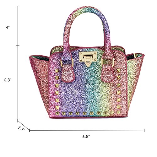 CMK Trendy Kids My First Shinny Glitter Rainbow Purse for Little Girls Toddlers Mini Tote with Poms (80003_Rainbow) by CMK Trendy Kids (Image #3)