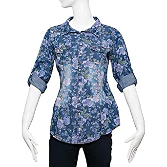 Big Dart Blue Denim Shirt Neck Shirts For Women