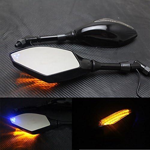 Romsion Accessories 1 paio di specchietti retrovisori universali per moto con indicatori di direzione a LED