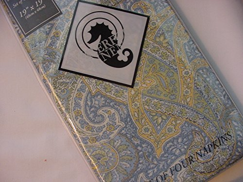 Waterford Paisley Blue/Green/Yellow Napkins 4