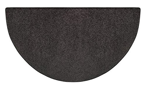 Flame 4' Half Round Polyester Fireplace Rug - Black (Pad Hearth Fire Resistant)