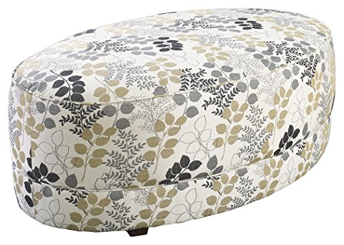 Ashley Furniture Signature Design - Makonnen Oversized Accent Ottoman - Contemporary Style - Winter White and Floral Pattern