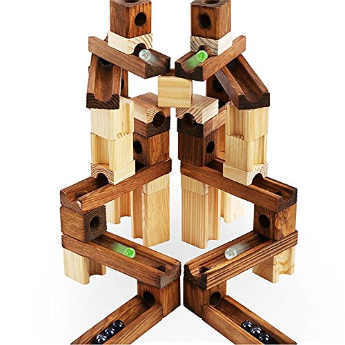 Marble Run Toys, 60 Pieces Wooden Classic Ramps Track Building Construction Set for Children Toddler ()