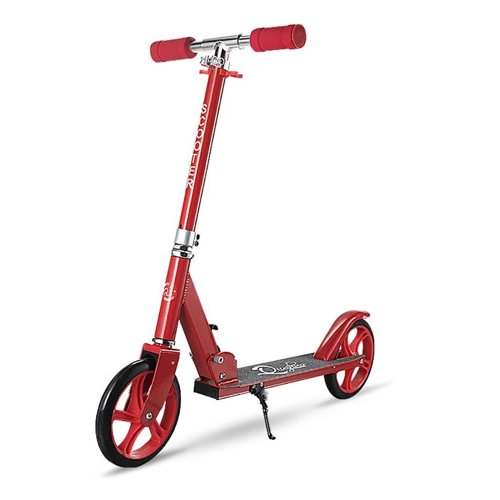 Nunca te rindas Pedal Scooter de Dos Ruedas Pedal de Estudiante Plegable de Aluminio con Pedal (Color : Rojo)