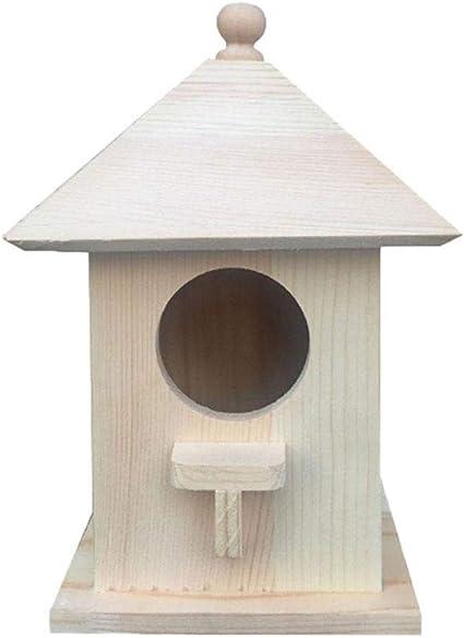 Oshide Comedero para pájaros al Aire Libre Caja de cría de pájaros Jaula con una Cuerda Colgante Jardín de Madera Balcón Uso Salvaje Casa de pájaros Hexagonal: Amazon.es: Coche y moto