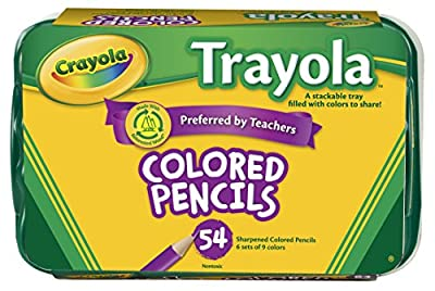 Crayola Colored Pencils, 54 Count, Vibrant Colors, Pre-sharpened, Art Tools, Great for Adult Coloring; Stackable Tray
