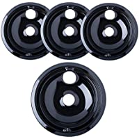 "Porcelain Drip Pans (3) 6"" WB31M20, (1) 8"" WB31M19 Replacement for GE P119204XZ Style B Black"
