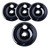 "Porcelain Drip Pans (3) 6"" WB31M20, (1) 8"" WB31M19 Replacement for Range Kleen/GE P119204XZ Style B Black"