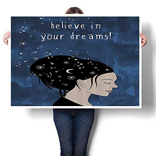SCOCICI1588 3D Hand Painting Portrait of Woman with Dark Hair and Mo Stars Dream liever Quote Feminine Art Modern Abstract Wall Art for Living Room,56