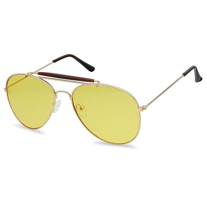 1573c9520 Amazon.com: Classic Retro Teardrop Yellow Lens Full Metal Cop Style  Sunglasses (Gold/Yellow Lens): Clothing