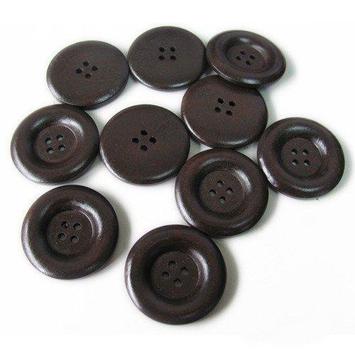 10 Botones Redondos de Madera Cafés de 30mm - 4 Orificios - costura, álbumes de recortes, artesanías