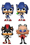 POP Funko Sonic The Hedgehog: Sonic With Ring + Sonic With Emerald + Shadow + Dr. Eggman - Video Game Stylized Vinyl Figure Bundle Set