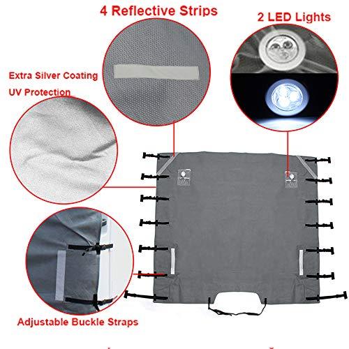 wohnmobil frontscheibenabdeckung abdeckung wohnmobil mit verbesserte wohnwagen abdeckung mit 2 LED-Leuchten Caravan bugschutzplane
