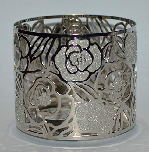 Bath Body Works 3 Wick Candle Sleeve Holder Silver Glittery Rose (Candle Sleeve Holder)