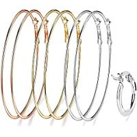 """Thank&U Womens Big Hoop Earrings Set,3 Pairs 12/5""""(60mm) and 1 Pairs Small Silver Earrings,Carefully Polished Gold Plated"""