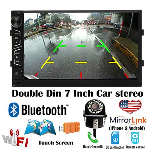 Double Din Android Car Stereo 7 Inch Touch Screen Car Radio with Backup Camera for Chevrolet Silverado 1500 2500 3500 Support Mirror Link (IOS and Android) Bluetooth WiFi Steering Wheel Control GPS