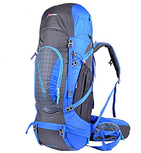 Mountaintop Unisex Outdoor Hiking Climbing Camping Backpack Mountaineering Bag High Capacity 65L-Blue