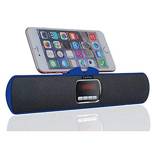 LarKoo Ultra Portable Wireles Rechargeable Handsfree Bracket Bluetooth Speaker Stereo System Phone Holder Mount Stand for Android Smartphones and Tablets iPad iPhone 5S 6 6S 7 8 plus X (Blue) from LarKoo