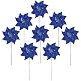 In the Breeze 2711 Sparkling Mylar Pinwheel Decorative Spinner-8 Piece Bag, Blue Sparkle/8 Pieces