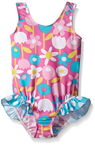 Flap Happy Little Girls UPF 50+ Delaney Hip Ruffle Swimsuit, Petal Pops, 6X