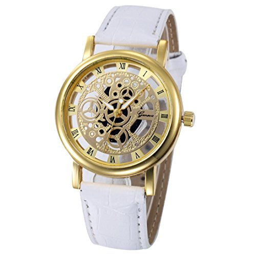 Malltop Womens Charming Hollow Case Hook Buckle Analog Quartz Wrist Watches (White (Band), Gold - Dollar Buckle