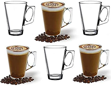 Ansio Large Latte Glass Coffee Cups 385ml 13 Oz Gift Box Of 6 Latte Glasses Compatible With Tassimo Machine 6 Pack Amazon Co Uk Kitchen Home