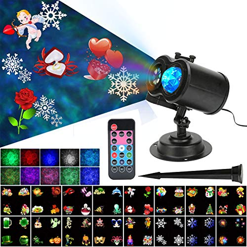 Kingkok Ocean Wave 2-in-1 Projector Lights with Moving Patterns for Christmas, New Year, Valentine, Waterproof LED Light with 10 Color Waves and 16 Sliders for Indoor, Outdoor Party Decorations]()
